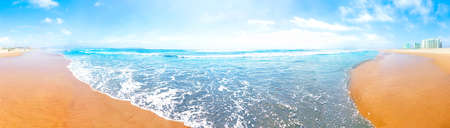 Panoramic view of the wide wave of the pacific ocean in La Serena, Chile