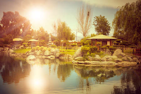 Japanese garden with reflecions in the pond at sunset in La Serena, Chile
