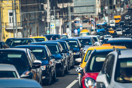 Cars standing in a queue during rush hour