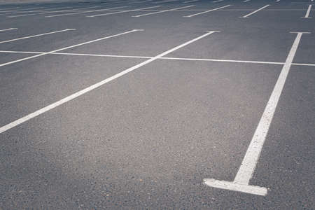 Closeup of the empty parking lots near trade center