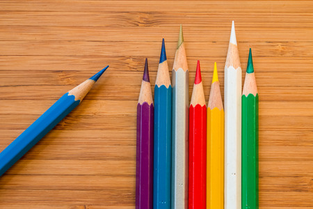 compose: Compose of the old color pencil on the wood floor