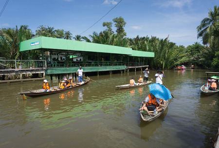 Surat Thani, Thailand - December 25, 2016: Floating leaves some civil state. Attractions in Surat Thani, to watch the video lives of local residents canal leaves some isolated river. Editorial