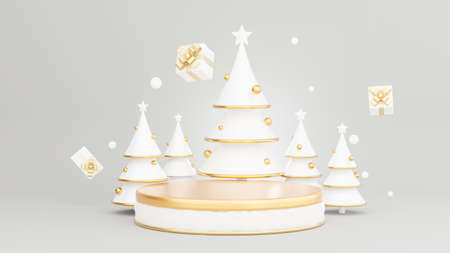 3d render of podium at christmas concept with decoration Archivio Fotografico