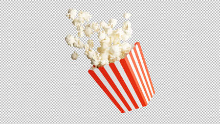3d render of popcorn isolated on transparency