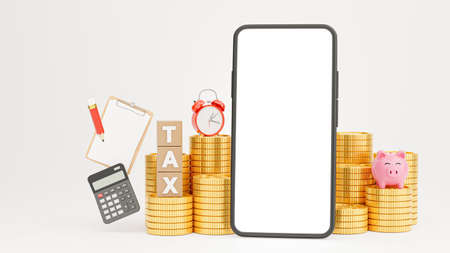 3d render of smartphone with tax time for your mockup design Stock Photo