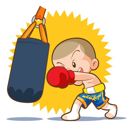 muaythai kids sandbag boxing hit