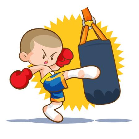 muaythai kids sandbag boxing kick
