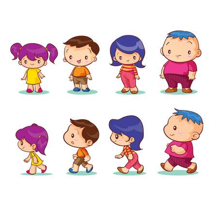 niño parado: niño y niña personaje Vectores