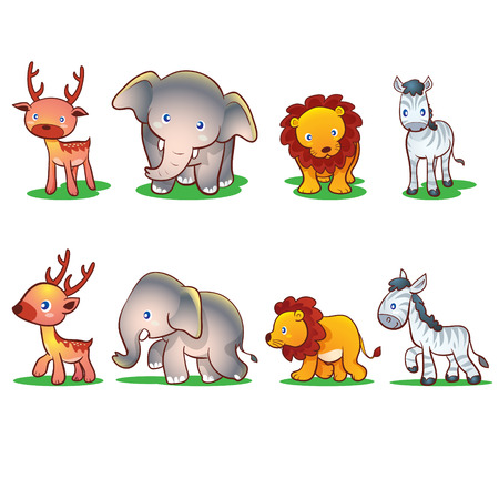 standing lion: Cute animals front and side