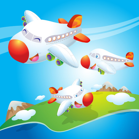 cartoon earth: cute plane fly in the sky