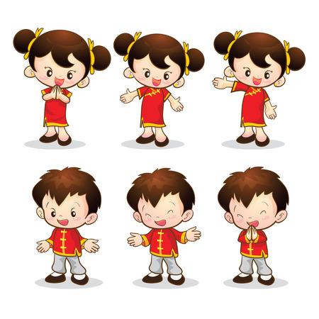 귀여운 중국 소년 소녀 작업