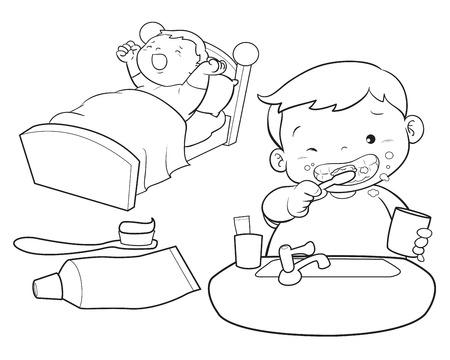 yawn: cute boy wakeup brush the teeth Illustration