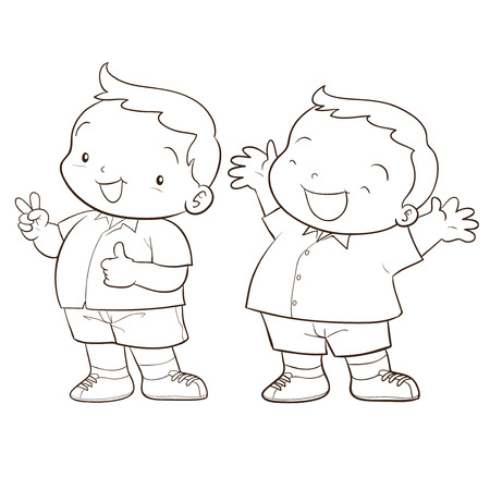 isolation: cute cartoon boy character happy and victory action line art