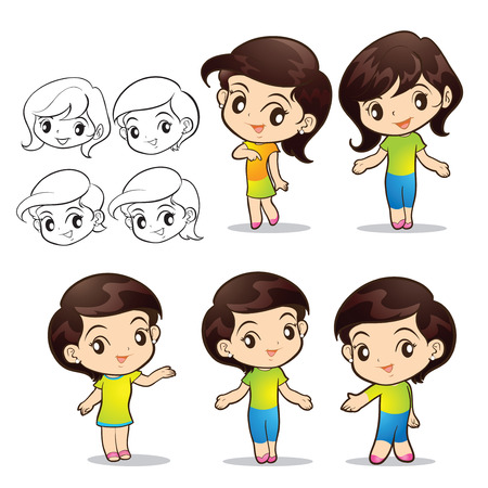 charactor: cute girls character actions lovely Illustration