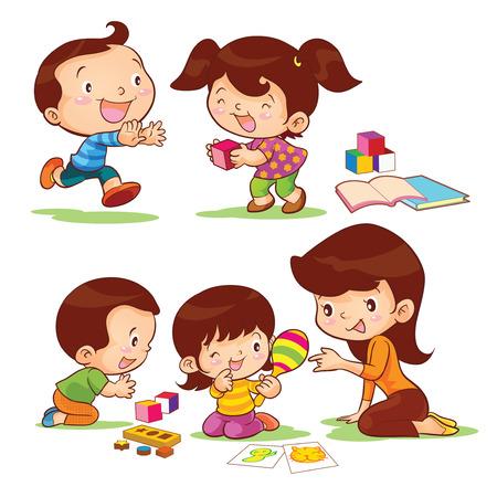 niños jugando caricatura: juguetes educan a los niños por madre