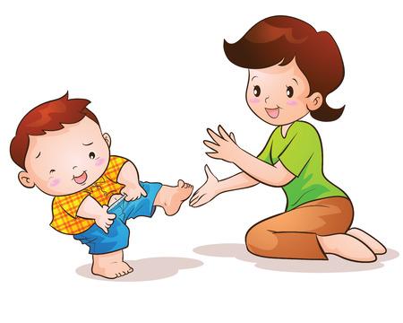 teaches: Mom teaches son wear pants lovely Illustration