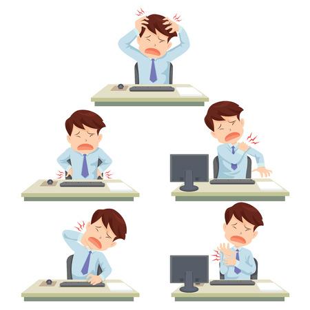 trabajando duro: hombre oficina trabajando duro officesyndrome Vectores