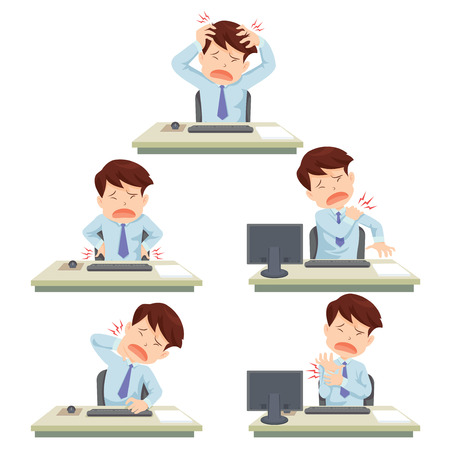 hard working man: office man working hard officesyndrome Illustration