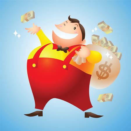 rozpraszać: bogaty człowiek szczęśliwy rozrzut pieniądze Ilustracja