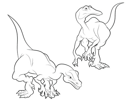 lineart: struthiomimus black and white cartoon lineart coloring