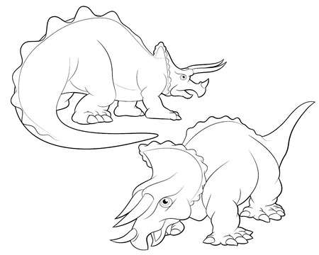 triceratops: triceratops cartoon lineart coloring Illustration