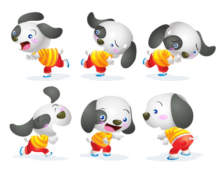 actions: cute dog cartoon character many actions
