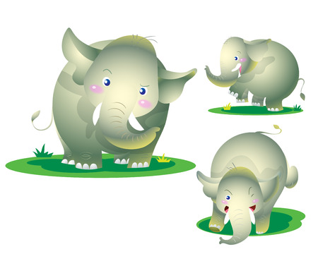 proboscis: cute elephant naughty actions emotion Illustration