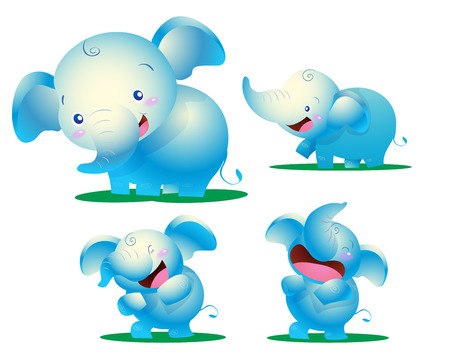 actions: cute elephant kids many actions emotion Illustration
