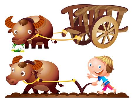 cartwheel: cute farmer buffalo cart farming