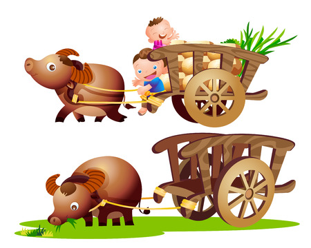 cartwheel: farmer buffalo and cart countryside Illustration