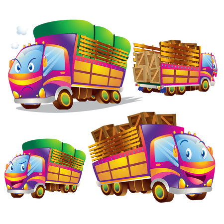 emo��es: Cute truck cartoon running have action and emotions