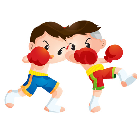 faction: Cute Thai boxing kids fighting actions Elbow strike