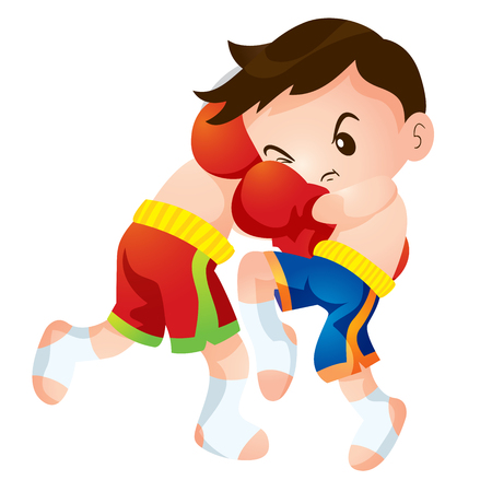 boy boxing: Cute Thai boxing kids fighting actions knee strike