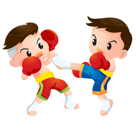 defence: Cute Thai boxing kids fighting actions kick strike Illustration