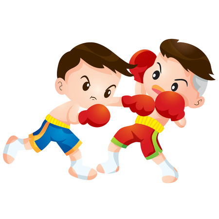 Cute Thai boxing kids fighting actions hit strike and dodge Ilustracja