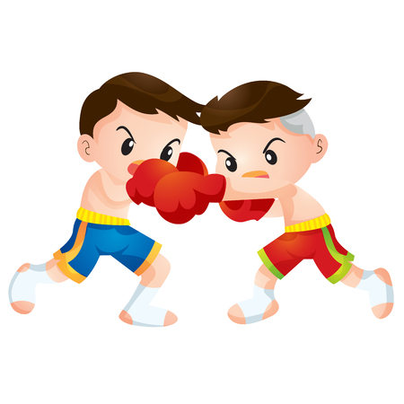Cute Thai boxing kids fighting actions hit strike