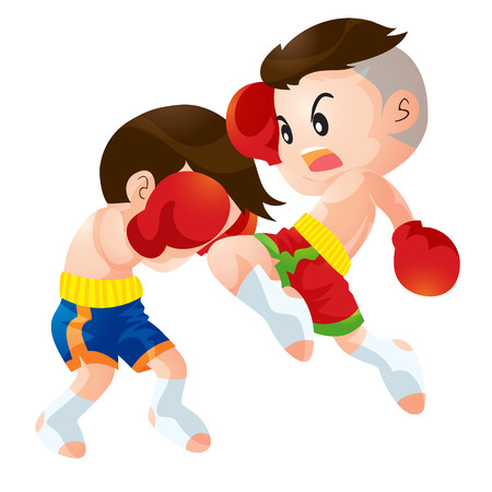 a faction: Cute Thai boxing kids fighting actions knee over strike