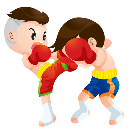 elbows: Cute Thai boxing kids fighting actions high kick strike Illustration
