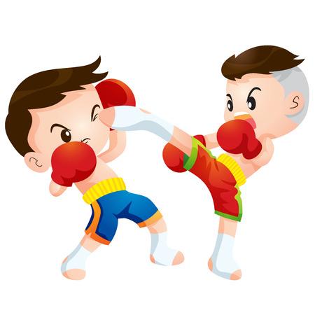 deportes caricatura: Lindos ni�os de boxeo tailand�s lucha huelga alta patada acciones y Dodge Vectores