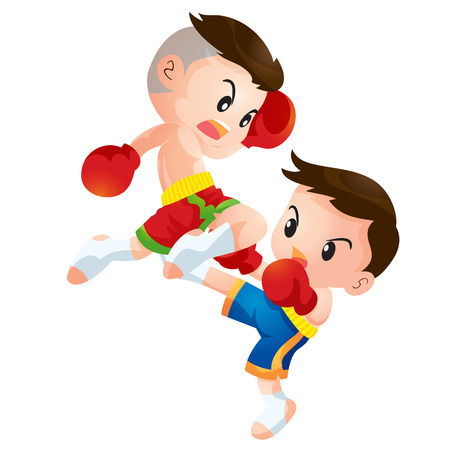 thai culture: Cute Thai boxing kids fighting actions knee over strike