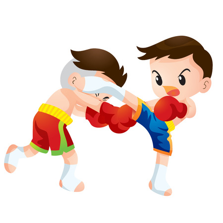 kick boxing: Cute Thai boxing kids fighting actions back kick strike Illustration