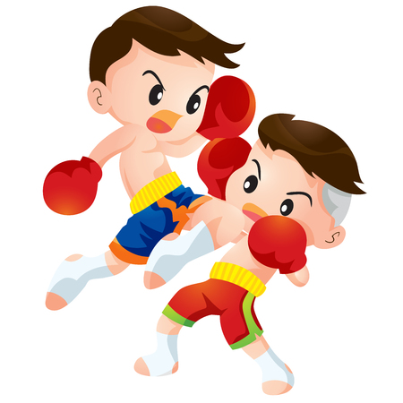 boxing boy: Cute Thai boxing kids fighting actions knee over strike