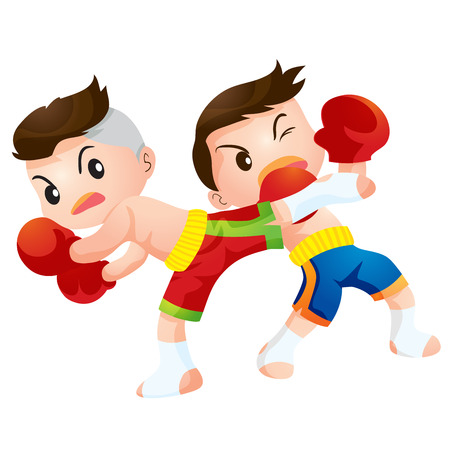 a faction: Cute Thai boxing kids fighting actions back kick strike and dodge Illustration