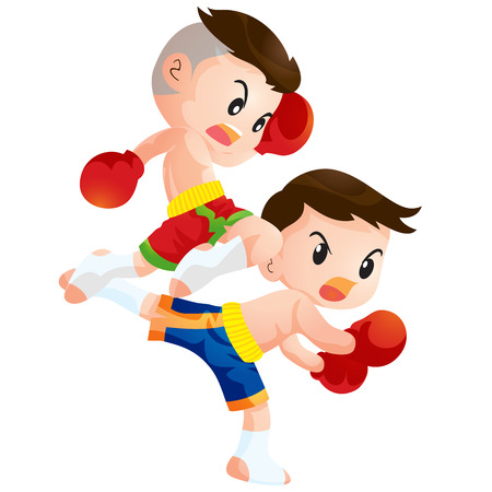 a faction: Cute Thai boxing kids fighting actions knee over strike and back kick Illustration