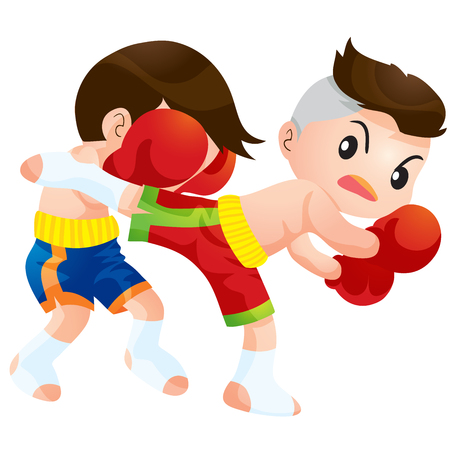 defence: Cute Thai boxing kids fighting actions back kick strike Illustration