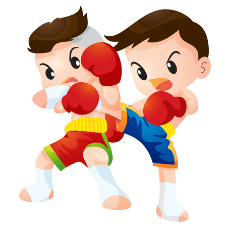 defence: Cute Thai boxing kids fighting actions  Elbow strike and kick strike