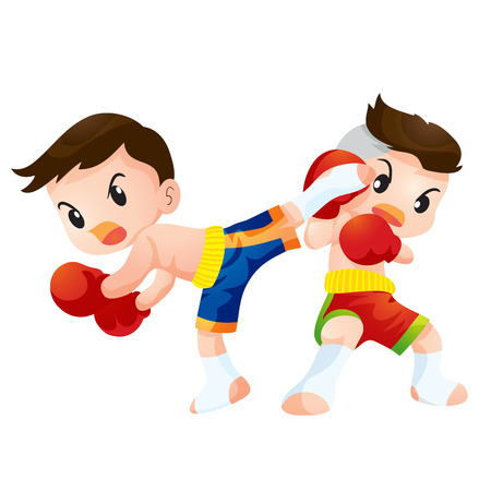 thai kick boxing: Cute Thai boxing kids fighting actions back kick strike and guard Illustration
