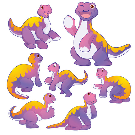 prehistory: Cute purple Apatosaurus cartoon character many actions
