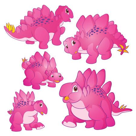 Cute Illustration vector Pink Stegosaurus cartoon character many actions and emotions