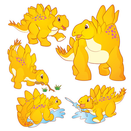 petrifying: Cute Illustration vector yellow Stegosaurus cartoon character many actions and emotions